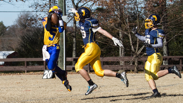Hope Christian receiver Dillon Thompson hauls in a pass against Webb in the NACA semifinals Nov. 12. (Contributed/Twanna Arnold)