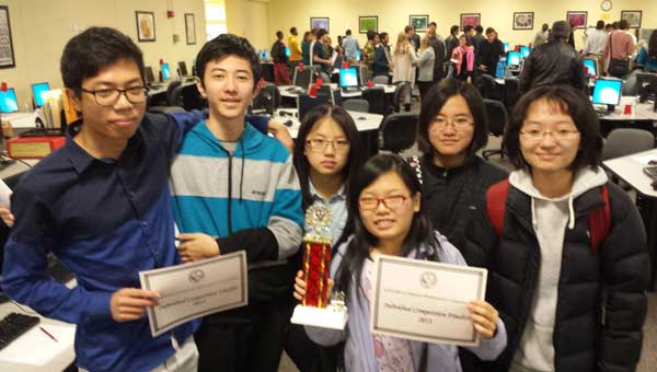 The Indian Springs School Math Team won first place at the University of Alabama Math Tournament Nov. 16. The team includes, from left, Mike Jin, Yuzhao Pan, Claire Chen, Claire Tang, Christine Zheng and Jingyu He. (Contributed)