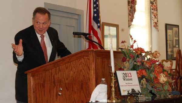 Alabama Chief Justice Roy Moore was the keynote speaker at Shelby County's first-ever Veterans Treatment Court graduation Nov. 7 at the Shelby County Museum and Archives. (Reporter Photo/Cassandra Mickens)