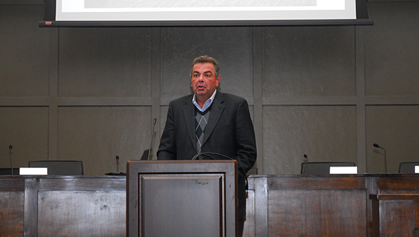 Alabaster Candlewood Suites General Manager Costel Hofman speaks during a Nov. 14 meeting between city leaders and business owners. Candlewood Suites is one of several companies considering economic development projects in the city. (Reporter Photo/Neal Wagner)