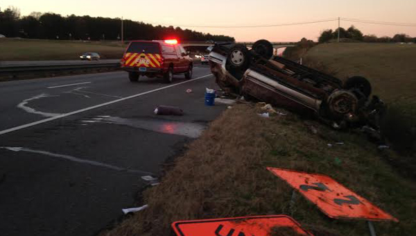 A Chevy suburban rolled over on Interstate 65 north near Exit 228 Nov. 27. (Contributed)