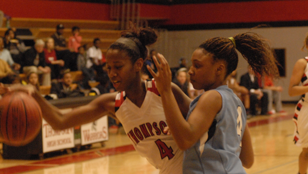 Calera's Tyesha Haynes, pictured in an early season matchup with Thompson, led the Eagles scoring with 16 points in a Dec. 13 loss to Oneonta. (Reporter Photo/Drew Granthum)