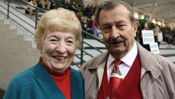 Dick Paxton and his wife, Gloria, before the Pelham Christmas tree lighting ceremony on Dec. 2. (Contributed)