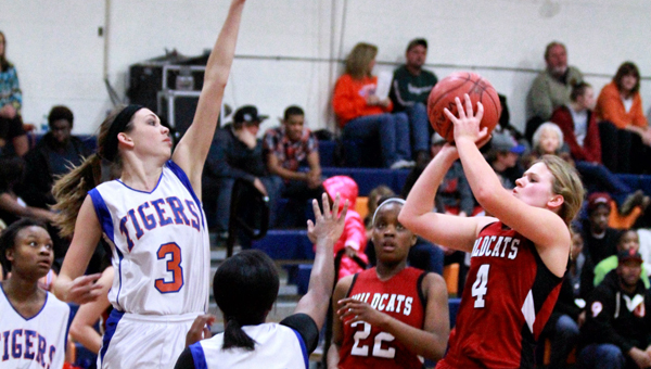 Shelby County's Marjorie Head (No. 4) goes up for a shot in a Dec. 13 contest against Chilton County. (Contributed/Brandon Sumrall)