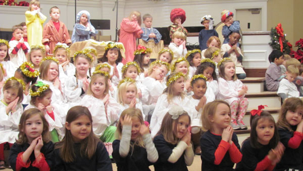 Kindergarteners at First Baptist Church of Alabaster perform during the church's annual Christmas play on Dec. 18. (Contributed)