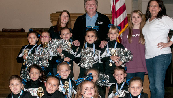 In the Junior I Division at the UCA State Youth Competition, first grade cheerleaders placed third. They recently led the pledge at a city council meeting and received congratulations from Mayor Mark Hall and council members. (contributed)