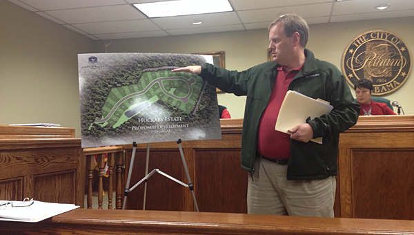Bob Easley with the Alabama Engineering Company discusses a proposed garden home development in Pelham during a Dec. 12 Pelham Planning Commission meeting. (Reporter Photo/Neal Wagner)