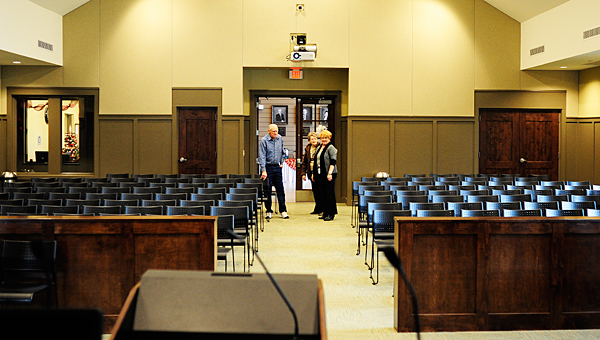 Alabaster Court Supervisor Sandra Harika, right, gives a tour of the new court and meeting room at the Alabaster City Hall on Dec. 31. (Reporter Photo/Jon Goering)