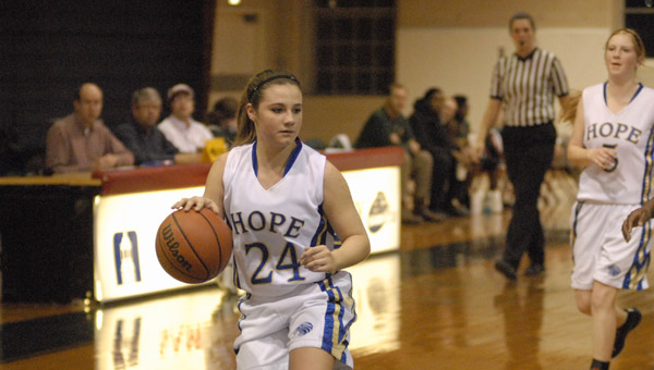 Hope Christian's Karlee Tate in a Jan. 16 matchup with Hope Academy of Talladega. Tate scored five 3-pointers on her way to a 17-point night. (Reporter Photo/Drew Granthum)