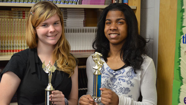 Montevallo High junior Frances Pope and senior Christina Morris, both of whom recently competed at the regional Poetry Out Loud competition.  Morris received first place and will attend the state competition in February. (contributed)
