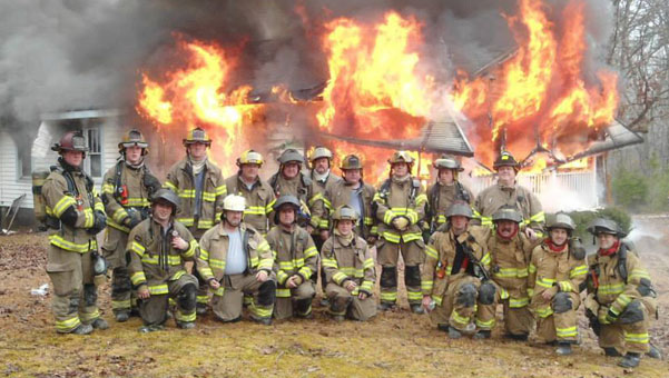 Chelsea Fire Department after the 'Live Fire' exercise. Front, from left, Chase Armstrong, Chief Wayne Shirley, Captain Mark Rikard, Jason Hoosier with Pelham members Lt. Mitchell Hicks, Brent Weldon, Brent Cox and Rusty Murphy. Standing, from left, Lt. Charlie Boyd, Duncan Harris, Captain Reeves, Tommy Chamberlain, Barkley Johnstone, Everet Hazen, Jason Watson, Lieutenant Ben Hostetter. (contributed)