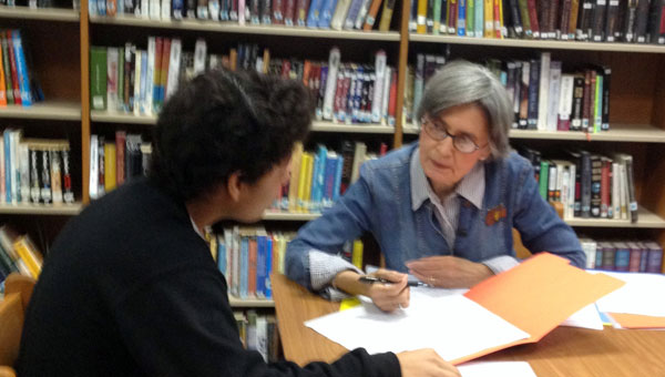 Retired teacher Ruth Robertson was one of the mentors selected to meet with MHS ninth grade students during report card conferences. (contributed)