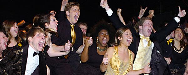 Gold team members celebrate a victory (file)