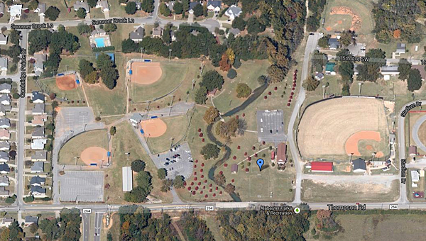 Flooding was reported near the Alabaster Parks and Recreation depot office off Thompson Road on Jan. 11. (Contributed)