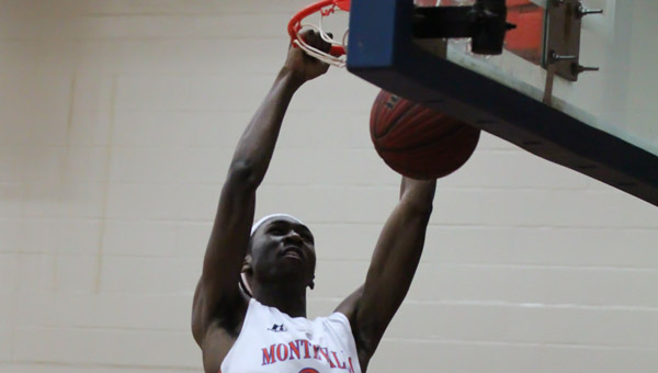Montevallo's Bobby Anderson goes up for a dunk in a Feb. 1 matchup with Westminster-Oak Mountain. (Contributed/Amy Pintaro)