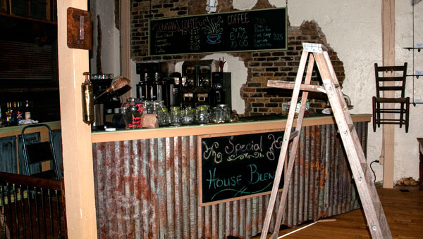 The movie set coffee shop bar remained in Ice and Coal after filming ended, waiting to be dismantled. (contributed)