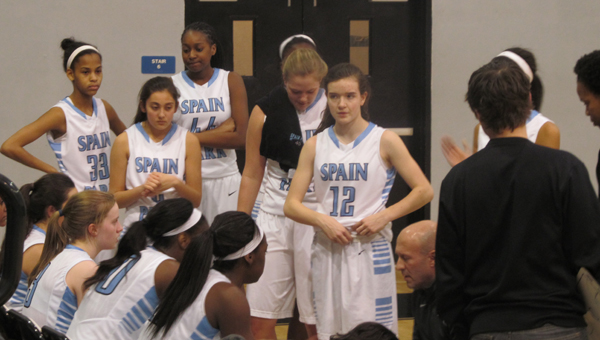 Spain Park head coach Mike Chase gives his team a pep talk during a timeout Feb. 13. (Contributed/Jordon Semien)