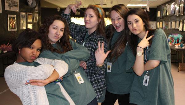 Pelham High School seniors Aja Bell, Makenna Downs, Lauren Meadows, Maggie Porter and Maddie Garcia celebrate a successful Write Night 2014. (Contributed)