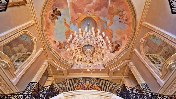 Hand-painted dome ceilings are among the features in this Shoal Creek mansion, which is listed as the largest home on the market in the U.S. (Contributed)