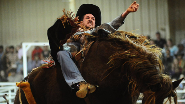 A saddleback bronc rider tries to hold on for eight seconds at the Shelby County Cattleman's Association Rodero Feb. 22. (Reporter Photo/Jon Goering)