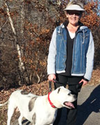 Karen Hamilton, with Fred, loves walking on the track at County Road 39 Park in Chelsea. (contributed)