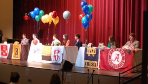 Seven Briarwood seniors signed scholarships on Feb. 5. (Reporter Photo/Drew Granthum)