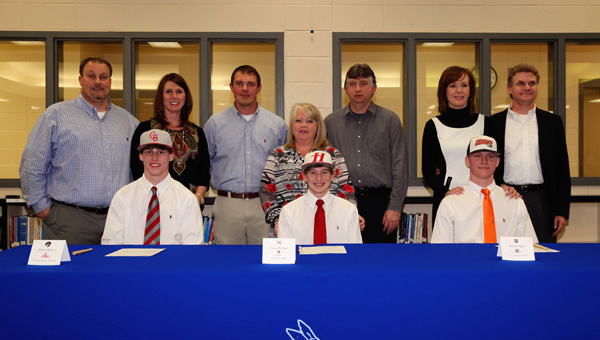 Chelsea baseball players Hunter Howard, Casey Ballenger and Landon Wylie signed scholarships to play collegiately on Jan. 17. (Contributed/Cari Dean)