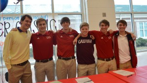 The Oak Mountain Eagles saw football standouts Chris Johnson and Andrew Adams sign with University at Albany and Birmingham-Southern and soccer stars Mark Green sign with the University of Mobile while Brad Louis, Keegan McQueen, Stephen Carroll and Patrick Carroll (pictured) all sign with West Alabama. (Reporter Photo/Drew Granthum)