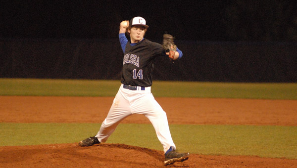 Chelsea's David Mock got the win on the mound over Shelby County on Feb. 25. (Reporter Photo/Drew Granthum)
