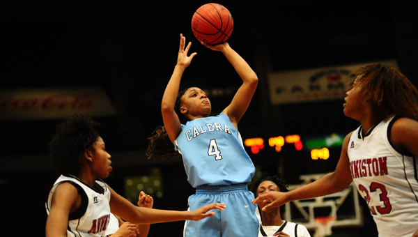 Tyesha Haynes' last-second, buzzer-beating layup boosted the Calera Eagles over the Anniston Bulldogs and into the AHSAA Class 4A State Championship game Feb. 26. (Reporter Photo/Jon Goering)