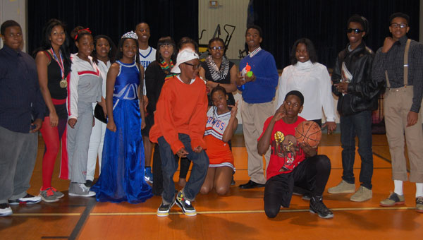 Montevallo middle school student dressed up as a variety of black celebrities as part of a living museum.