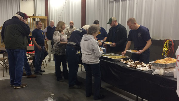 BR Williams employees serve food to Wilsonville firefighters as a thank you for help during Jan. 28 storm. (Contributed)