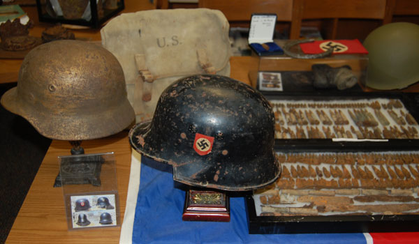 Livesay's WWII artifacts on display at Columbiana Middle School (reporter photo/Ginny Cooper)