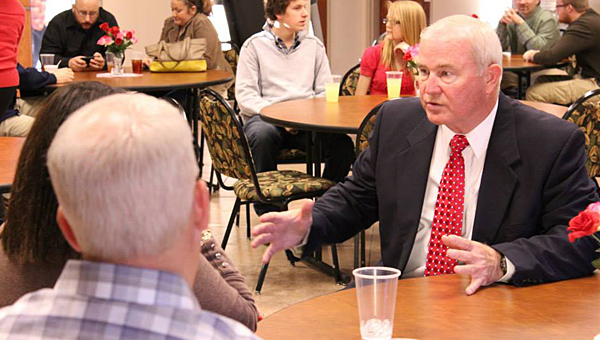 Shelby County sheriff candidate Larry McDow, right, speaks with supporters during his Feb. 15 campaign announcement at the Pelham Senior Center. (Contributed)