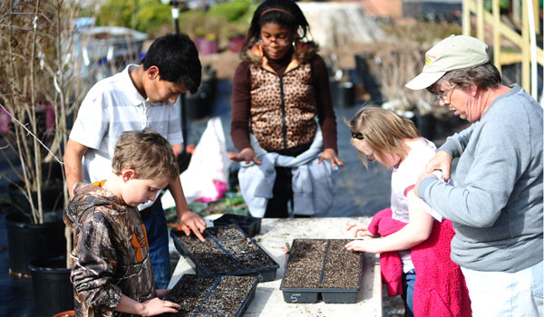 Vincent special needs students work with Ruth Driggers to plant herb seeds (Jon Goering/ For the Reporter)