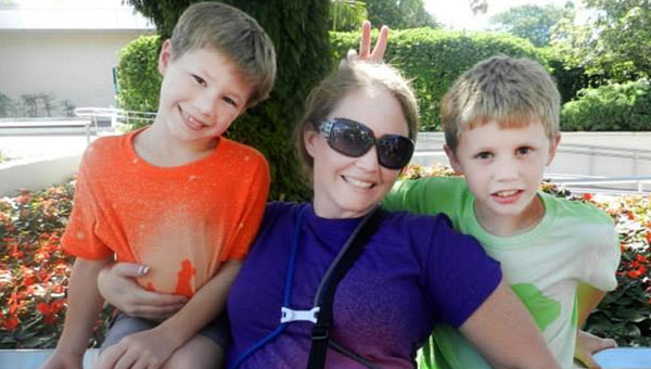 Mari Collins with her sons, Austin and Logan. Mari was recently diagnosed with cancer, and friends are sponsoring a ride to raise funds for the family. (contributed)