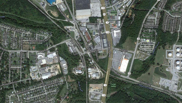 Area of Pelham's proposed shopping center, near the former Moore Handley tools warehouse and the Pelham City Hall. (Contributed)