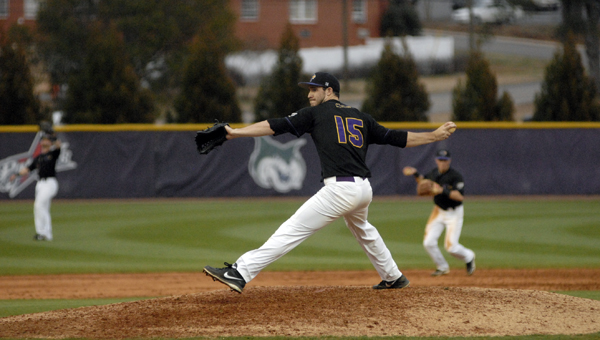 Montevallo reliever Edward Brandsema picked up his third save of the year in a 5-2 win over UAH March 5. (Reporter Photo/Drew Granthum)