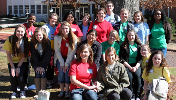 Just a few of Pelham High School's winning writers attending a recent writing conference at the University of Montevallo. (contributed)