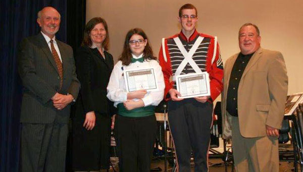 Pictured are Dr. Johnny Vinson, guest conductor of the high school honor band; Dr. Carla Gallahan, guest conductor of the middle school honor band; Savannah Dodson, Ryan English and Dane Lawley, SCBDA Chairman. (contributed)