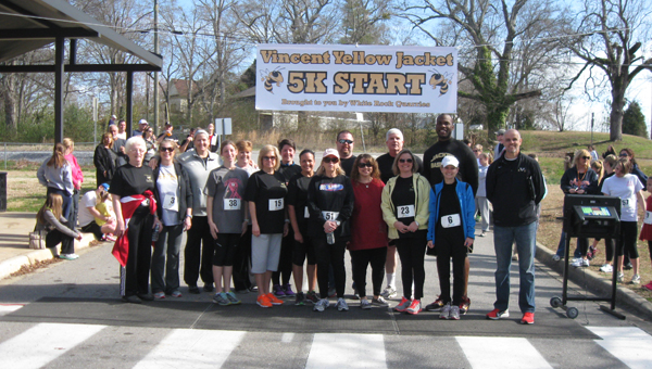 More than 80 runners, joggers and walkers participated in the second annual Vincent Yellow Jacket 5K and 1 Mile Fun Run on March 8. The event raised more than $3,000 to fund scholarships and support instruction at Vincent Middle High School. (Contributed)