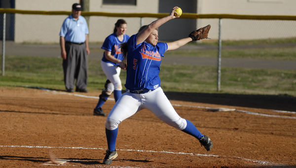Destiny Upton threw a complete game as well, surrendering four runs on seven hits, walking two and striking out six in a March 20 loss to Calera.  (Reporter Photo/Drew Granthum)