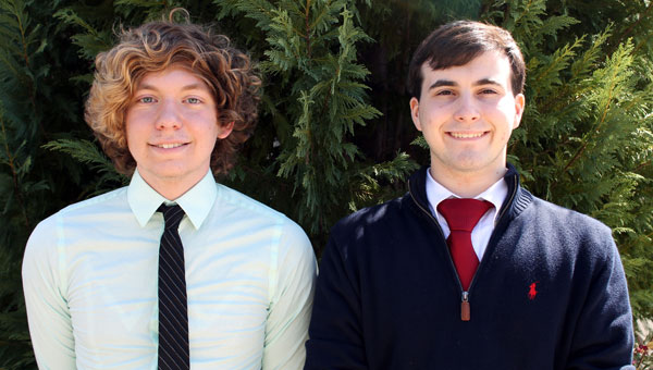 Kane Agan and Jacob McKinstry earned top ten out of all the public forum teams statewide at Montgomery Academy's Debate Tournament. (Contributed)
