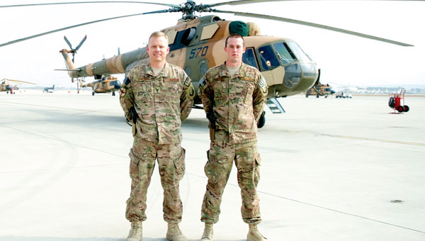 Col. Chris Stricklin, chief of staff, NATO Air Training Command, and Sen. Airman Clint Crumpton, Security Forces, on deployment in Afghanistan. Both men are from Columbiana. (Contributed/USAF)