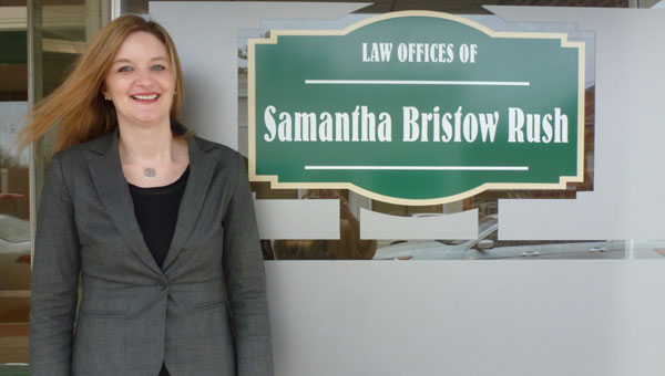 Samantha Rush in front of her law office on Main Street in Columbiana. (Contributed)