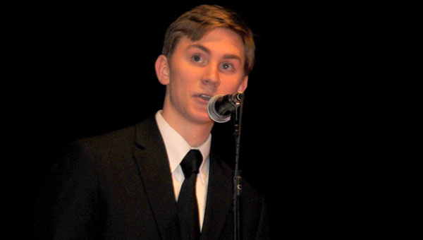 Matthew Hill, a Pelham High School senior from Helena, served as emcee for the school's 10th annual Write Night. (contributed)