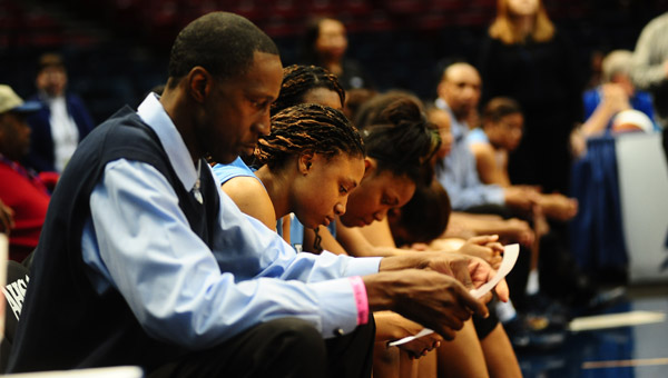 There's no easy way to capture how hard the Calera girls basketball team fought in the loss to Oneonta, or even capture emotions like these, in a standard column. (Reporter Photo/Jon Goering)