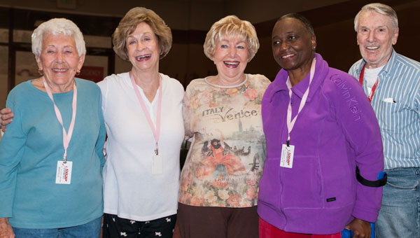Dorothy Green, second from right, bids a blessed day to her friends at SNAP Fitness, from left, Marcelle Mabry, Shelia Brooks, Patsy Parker and Ron Brooks. (Contributed)