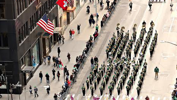The Pelham High School Band marched on Fifth Avenue from 44th Street to 79th Street in New York City's 253rd Saint Patrick's Day Parade. (Photo by Kevin McCormick / GroupPhotos.com)