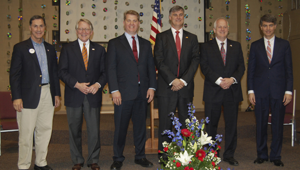 The seven Republican candidates vying for retiring U.S. Rep. Spencer Bachus' Sixth Congressional District seat appeared at a candidate forum March 21 at the Westminster School at Oak Mountain. Pictured, from left to right, Gary Palmer, Will Brooke, Chad Mathis, Scott Beason, Tom Vignuelle and Paul DeMarco. Not pictured is Robert Shattuck. (Reporter Photo/Cassandra Mickens)